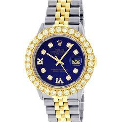 Rolex Mens 2 Tone Blue VS 4 ctw Beadset Diamond Datejust Wristwatch with Rolex B