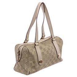 Gucci Beige Metallic Gold Canvas Leather GG Charmy Boston Bag