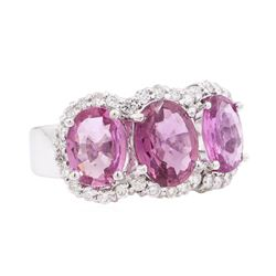 4.67 ctw Pink Sapphire and Diamond Ring - 14KT White Gold
