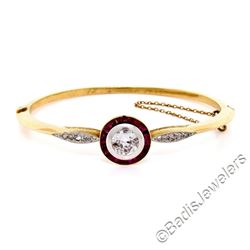 Antique 18kt Yellow Gold and Platinum 2.75 ctw Diamond Ruby Halo Bangle Bracelet