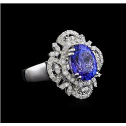 4.07 ctw Tanzanite and Diamond Ring - 14KT White Gold