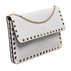 Valentino Gray Leather Rockstud Wallet On Chain Bag