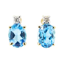 2.06 ctw Oval Cut Swiss Blue Topaz and Diamond Earrings - 14KT Yellow Gold