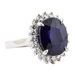 11.05 ctw Sapphire And Diamond Ring - 14KT White Gold