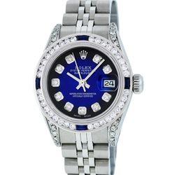 Rolex Ladies Stainless Steel  Blue Vignette Diamond Lugs & Sapphire Datejust Wri