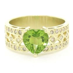 14kt Yellow Gold 1.90 ctw Heart Peridot and Diamond Wide Band Ring