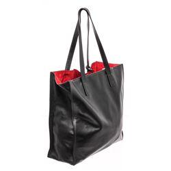 Prada Black Soft Calfskin Leather Large Shoulder Bag