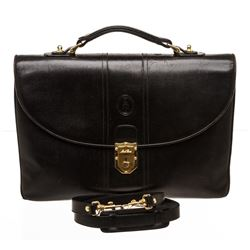 Mark Cross Black Leather Vintage Briefcase