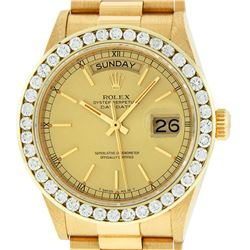 Rolex Mens 18K Yellow Gold 3.0 ctw Channel Set Diamond Day Date President Wristw