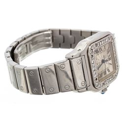 Cartier Stainless Steel White Sapphire Santos Galbee Watch