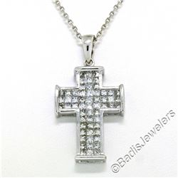18kt White Gold 1.31 ctw Invisible Set Princess Cut Diamond Cross Pendant Neckla