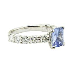 3.86 ctw Rectangular Cushion Brilliant Blue Sapphire And Diamond Ring - 14KT Whi