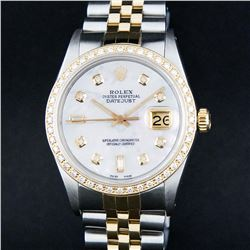 Rolex Mens 2 Tone 14K Mother Of Pearl Baguette Diamond Datejust Wristwatch