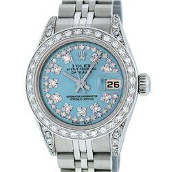Rolex Ladies Stainless Steel Quickset Sky Blue Diamond Lugs Jubilee Datejust Wri
