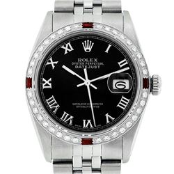 Rolex Mens Stainless Steel Silver Black Roman Diamond & Ruby Datejust Wristwatch