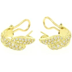 18K Yellow Gold 0.64 ctw Pave FINE Round BRILLIANT Diamond Huggie Hoop Earrings