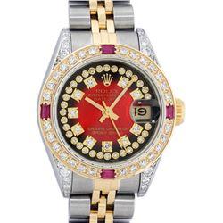 Rolex Ladies 2 Tone 14K Red Vignette String Diamond Lugs & Ruby Datejust Wriswat