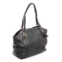 Prada Dark Blue Pebbled Leather Tote Bag