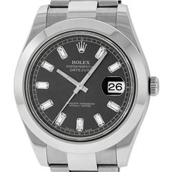 Rolex Mens SS 41MM Rhodium Baguette Diamond Datejust 2 Oyster Band Wristwatch Wi