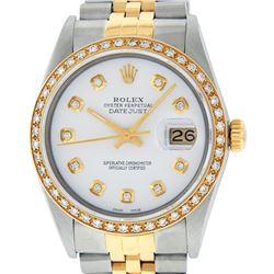 Rolex Mens 2 Tone 14K White Diamond 36MM Datejust Wristwatch