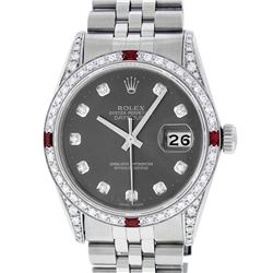 Rolex Mens Stainless Steel Diamond Lugs Rhodium Diamond & Ruby Datejust Wristwat