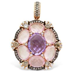 18k Rose Gold  10.30CTW Amethys and Rose Quartz and Brown Diamonds Pendant