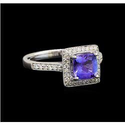 18KT White Gold 1.52 ctw Tanzanite and Diamond Ring