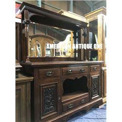 181cm Antique Furniture Wooden Chest & Mirror