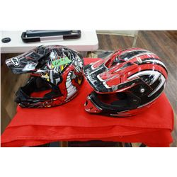Two Helmets with Red Trim