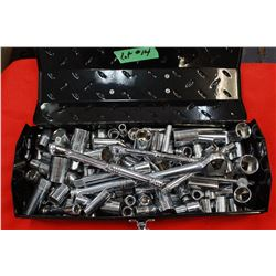 Metal Tool Box with Mastercraft Sockets