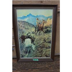 "Print ""Mule Pack Train"" Mountain Scene by C.M. Russell"