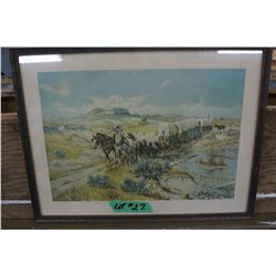 "Print ""Wagon Train"" by O.C. Seltzer, Russell's buddy"