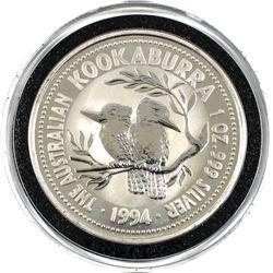 1994 Australia $1 1oz .999 Fine Silver Kookaburra in Capsule. Lower Mintage of 174,561pcs. (TAX Exem