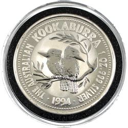 1994 Australia $1 1oz .999 Fine Silver Kookaburra in Capsule. Lower Mintage of 174,561pcs. (TAX Exem