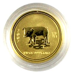 2007 Australia reverse Proof 1/10th oz. Fine Gold Year of the Pig $15 coin. Coin comes in Capsule on