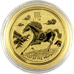 2014 Australia reverse Proof 1/10th oz. Fine Gold Year of the Horse  $15 coin. Coin comes in Capsule