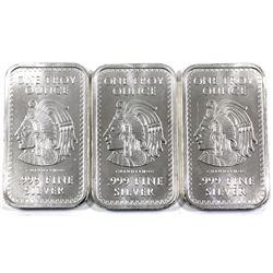 3x 1oz Fine Silver Aztec Bars .999. 3pc (tax exempt)