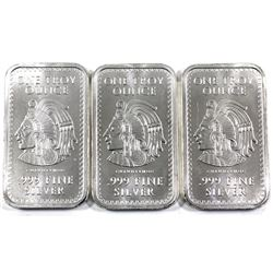 3x 1oz Fine Silver Aztec Bars .999. 3pc (tax exempt)