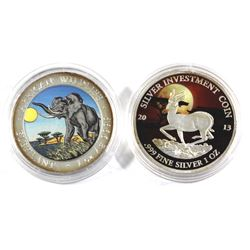 Pair of 1oz colourized Fine silver coins. Lot includes; 2016  Republic of Somalia African Elephant a