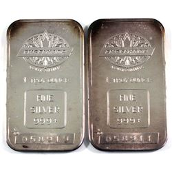 2x vintage Engelhard 1oz Silver Bars, Maple leaf Variety with Blank Back without borders with Canadi
