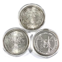 """set of 3x 1oz silver shield rounds. Lot includes: """"come and take them"""", Spreading Debt and Death, &"""
