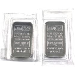 """2x 1oz Johnson Matthey fine silver bars. Lot includes """"A"""" Series and """"B"""" series issues. Still sealed"""