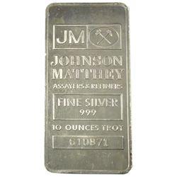 10oz Johnson Matthey .999 Fine Silver Bar (Toned). TAX Exempt