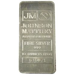 10oz Johnson Matthey .999 Fine Silver Bar (Toned). TAX Exempt