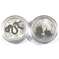 2011 Australia $1 Year of the Rabbit & 2013 $1 Year of the Snake 1oz .999 Fine Silver Coins in Capsu