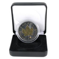 """2015 Canada $5 1oz Silver Maple Leafe """"Blackout Collection"""" Coin has selective 24K gold plating and"""