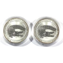 Pair of 2014 Australia $1 1oz Fine Silver Salt Water Crocodiles in Capsules. 2pc (Tax exempt)