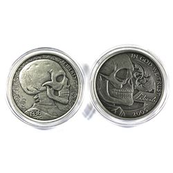 Pair of Limited edition 2016 1oz antique finish Skulls coins by Silver Hobo Nickels. Lot includes a