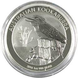 2016 1oz Proof Fine Silver Australian $1 Kookaburra, coin comes encapsulated. (tax exempt)