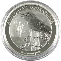 2016 1oz Proof Fine Silver Australian $1 Kookaburra, coin comes encapsulated. (tax exempt)